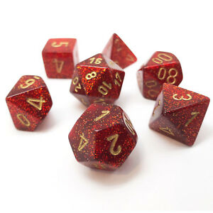 Chessex Dice: Glitter Polyhedral Set Ruby/Gold (7)