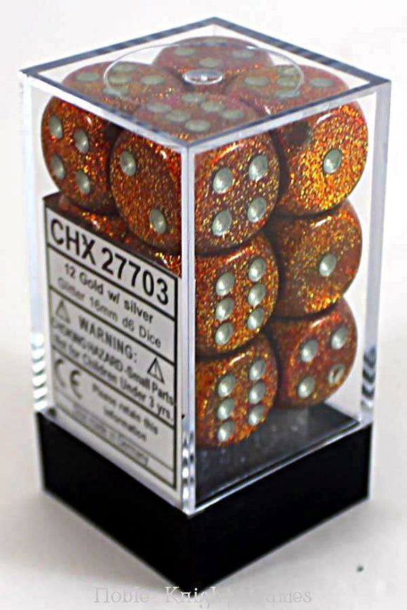 Chessex Dice: Glitter - 16mm D6 Gold/Silver (12)