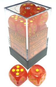 Chessex Dice: Ghostly Glow - 16mm D6 Orange/Yellow (12)
