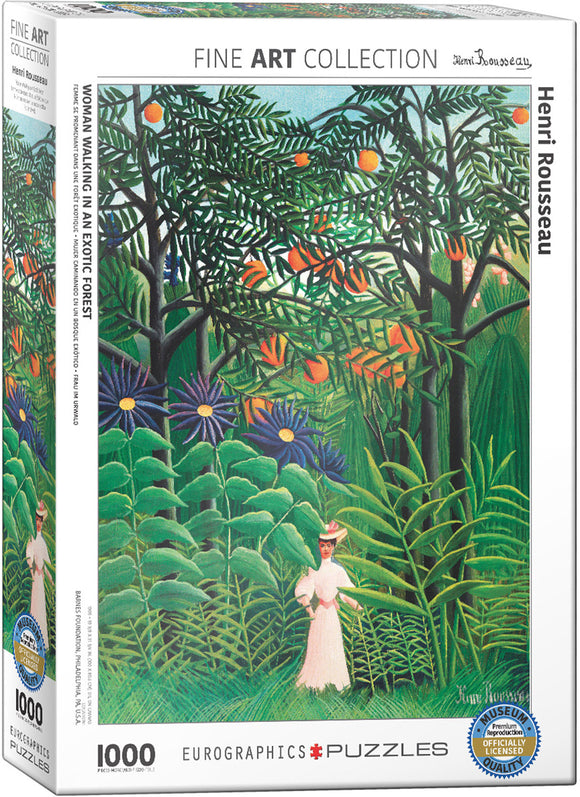Puzzle: Fine Art Masterpieces - Woman in an Exotic Forest by Henri Rousseau