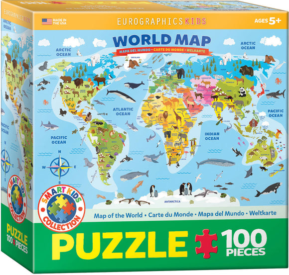 Puzzle: Educational Charts for Kids - Illustrated Map of the World