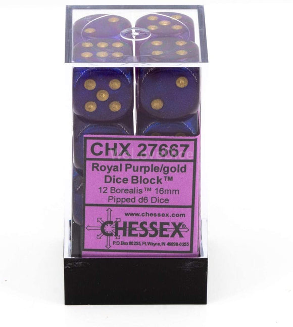 Chessex Dice: Borealis - 16mm D6 Royal Purple/Gold (12)