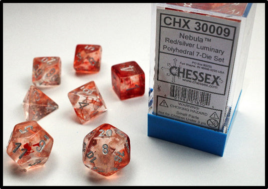 Chessex Dice: Borealis Polyhedral Set Luminary Red/Silver (7)