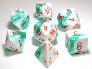Chessex Dice: Gemini Polyhedral Set Mint Green/White/Orange (7)