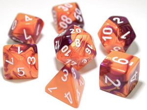 Chessex Dice: Gemini Polyhedral Set Orange/Purple/White (7)