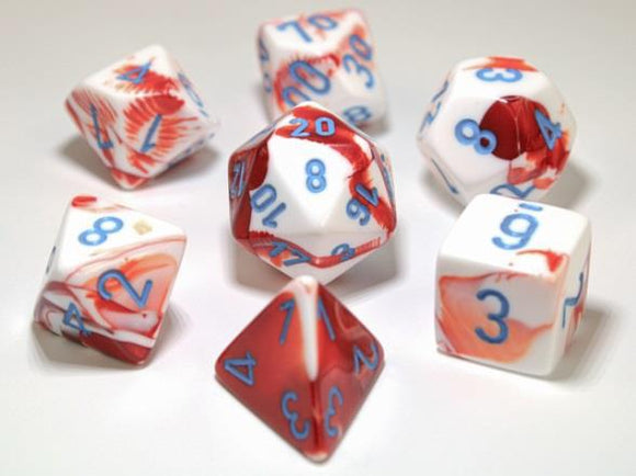 Chessex Dice: Gemini Polyhedral Set Red/White/Blue (7)