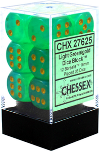 Chessex Dice: Borealis - 16mm D6 Light Green/Gold (12)