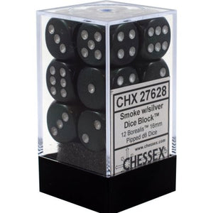 Chessex Dice: Borealis - 16mm D6 Smoke/Silver (12)
