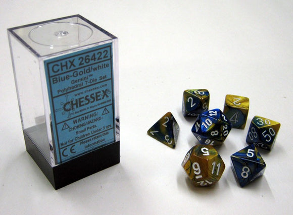 Chessex Dice: Gemini Polyhedral Set Blue Gold/White (7)