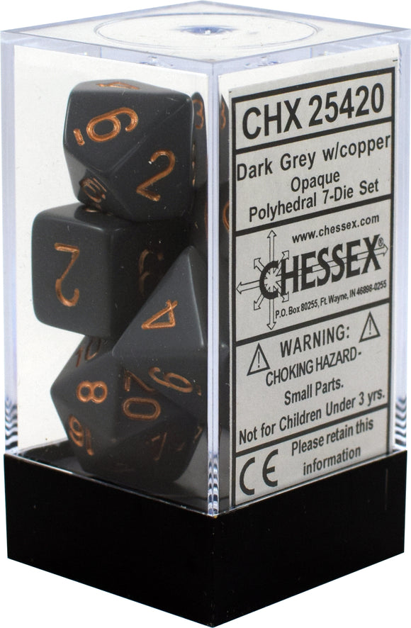 Chessex Dice: Opaque Polyhedral Set Dark Grey/Copper (7)