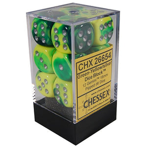 Chessex Dice: Gemini - 16mm D6 Green Yellow/Silver (12)