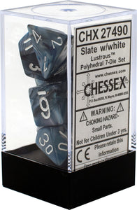 Chessex Dice: Lustrous Polyhedral Set Slate/White (7)
