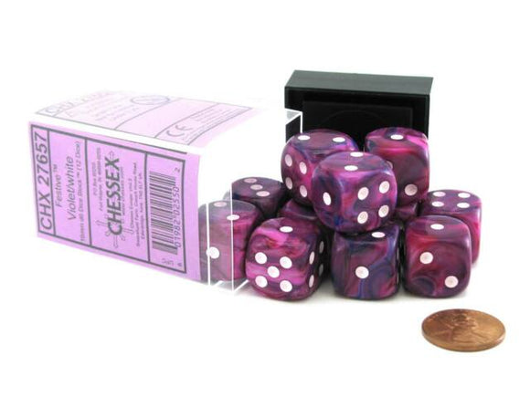 Chessex Dice: Festive - 16mm D6 Violet/White (12)
