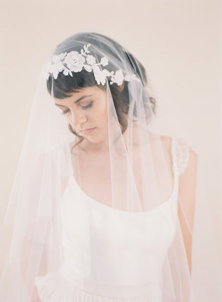 Beaded Lace Juliet Veil #708V-W