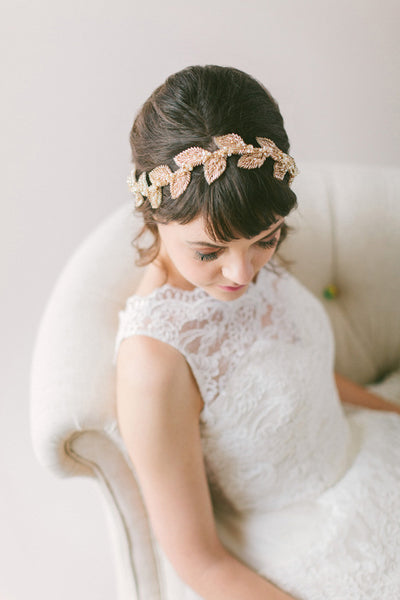 Beaded Leaf Champagne Bridal Headband #211HB