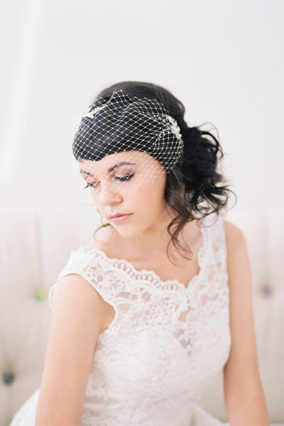 Birdcage Veil with Hand Beaded Lace #713V-W