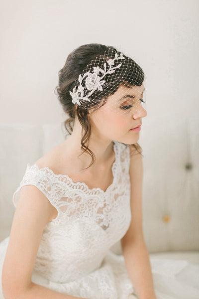 Birdcage Veil with Hand Beaded Lace #713V