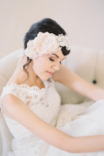 Blush Silk Flowers and Lace Bridal Headpiece #206HB-W