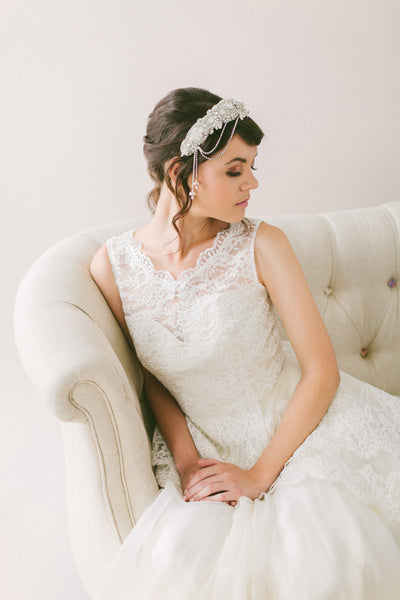 Crystal Bridal Headband with Hanging flowers #213HB-W