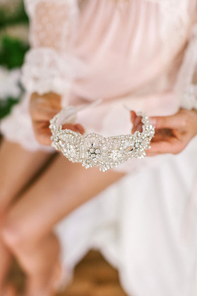 Crystal Bridal Headband with Hanging flowers #213HB