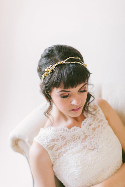 Crystal Bridal Headpiece with Flower Clusters - #200HB