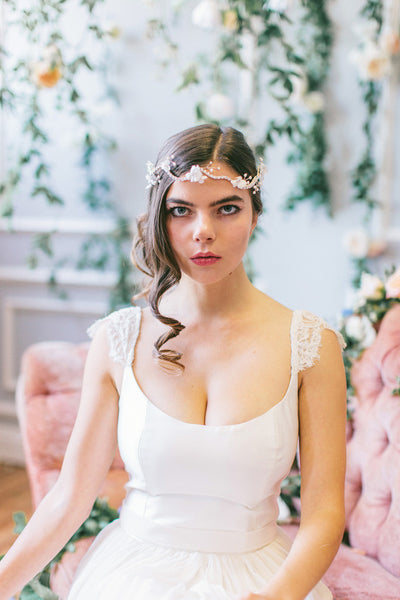 Crystal Headpiece with Silk Flowers and Pearls #204HB