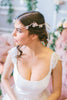Crystal Headpiece with Silk Flowers and Pearls #204HB-W