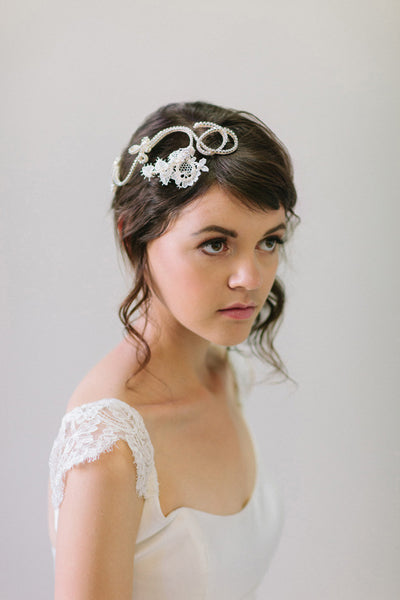 Crystal and Lace Knots  Bridal Headpiece #303HP-W