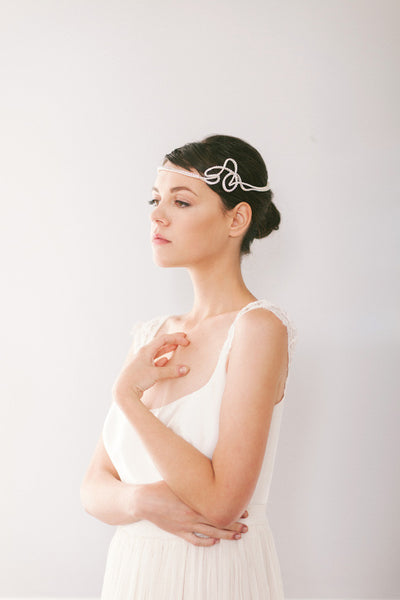 Crystal and Pearl Art Deco Bridal Headpiece #208HB