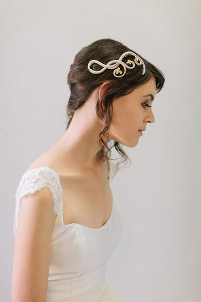 Crystal loops and Flowers Bridal Hair Comb #105HC
