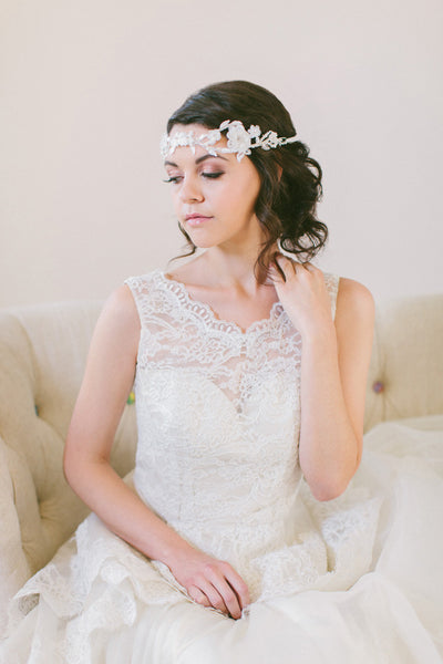 Delicate Lace and Silk Flower Headband #214HB-W