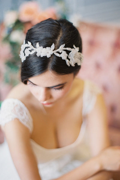 Delicate Lace and Silk Flower Headband #214HB