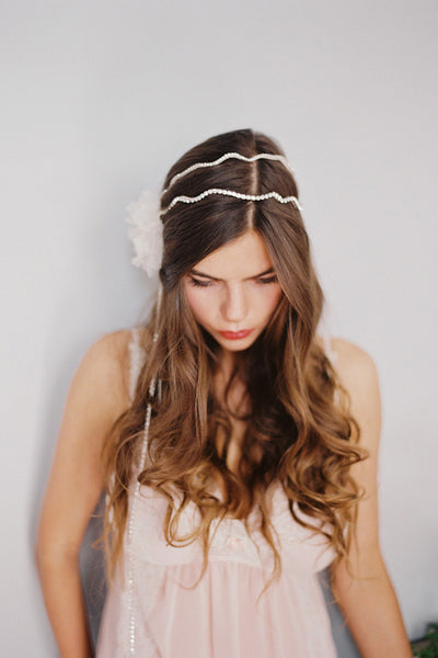 Double Band Silk Flower Headpiece with Chains #300HP