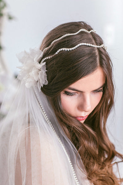 Double Band Silk Flower Headpiece with Chains #300HP-W