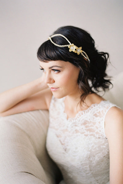 Double Flower Crystal Wedding Headpiece #210HB