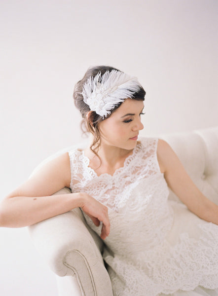 Feather Headpiece with lace Headband #205HB-W