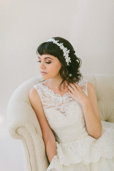 Floral Beaded Lace Headband #218HB