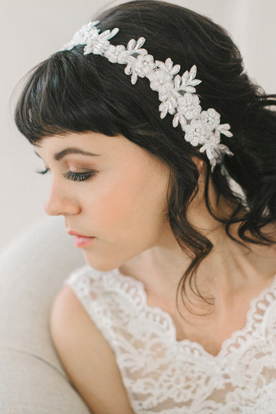 Floral Beaded Lace Headband #218HB-W