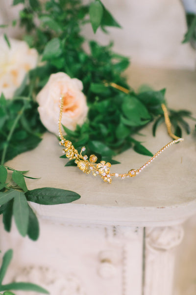 Gold Flower Cluster Crystal Bridal Headband - #202HB-W