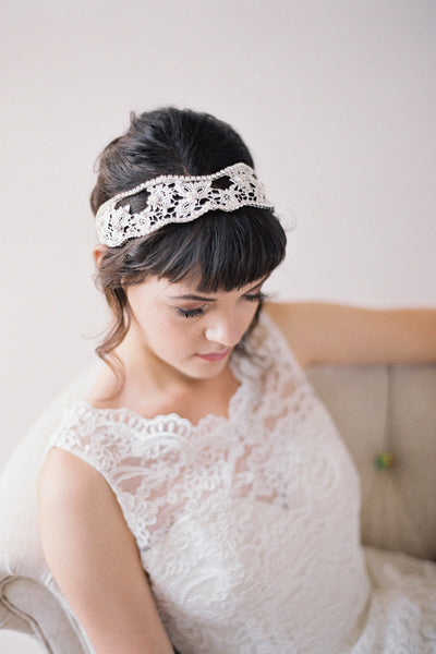 Hand Beaded Lace Headband #212HB