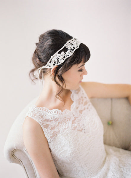 Hand Beaded Lace Headband #212HB-W