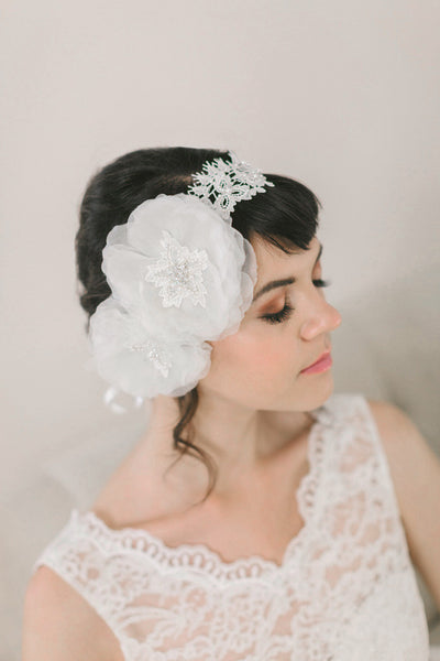 Handmade Silk Flower and Lace Headband #207HB