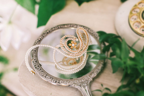 Looped Bridal hair Comb with Crystals and Pearls #107HC
