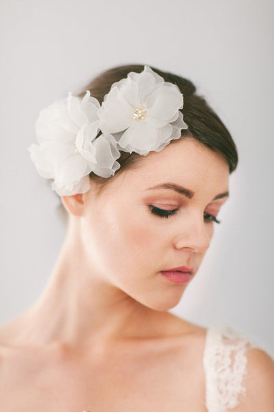 2 Silk Bridal Hair Flowers with Crystals and Pearls #103HC-W