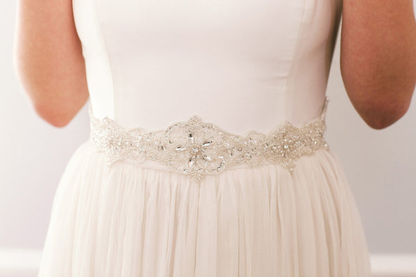 Delicate Crystal Bridal Sash with Intricate Beading #100SH