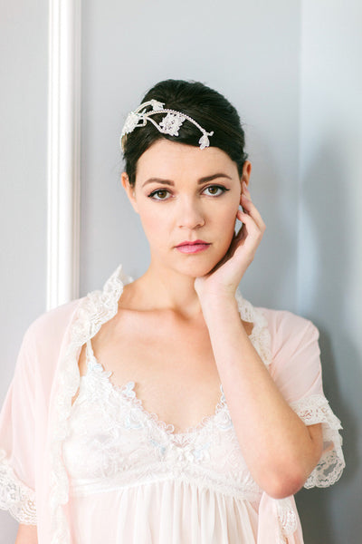 Lace and Crystal Flower Vine Headpiece #302HP-W