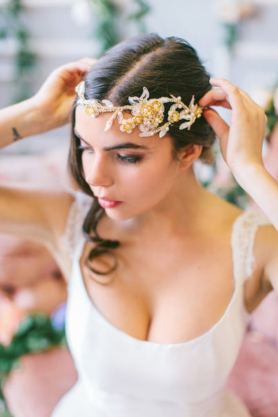 Lace and Crystal Wedding Headband #215HB-W