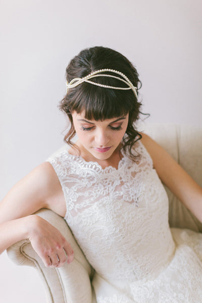 Line of Pearls Bridal Headband #209HB