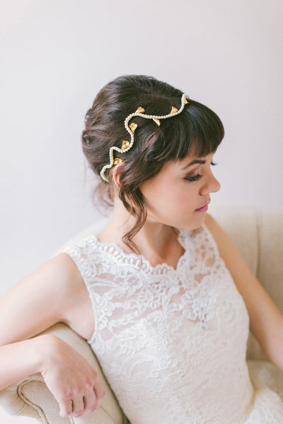 Pearl Headband with Gold Calla Lilies #203HB