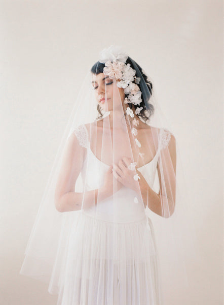 Silk Flower Wedding Veil #706V